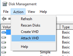 Windows 10 - Virtual drive - Attach