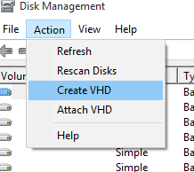 Windows 10 - Virtual drive - Create 2
