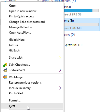 Windows 10 - Virtual drive - Eject